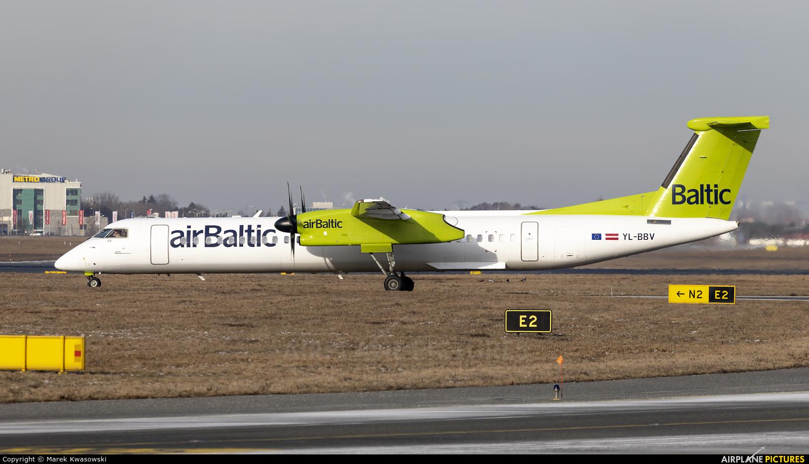 Air Baltic YL-BBV aircraft at Warsaw - Frederic Chopin