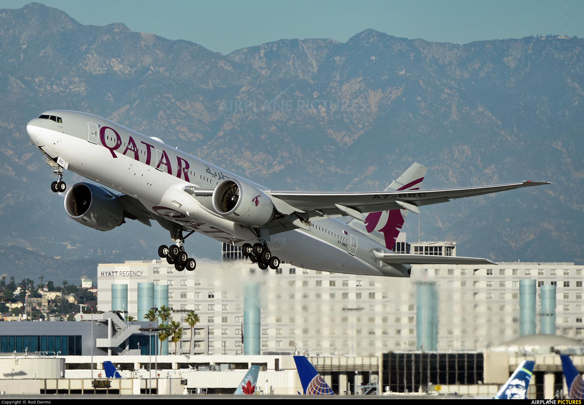 Qatar Airways A7-BBC aircraft at Los Angeles Intl