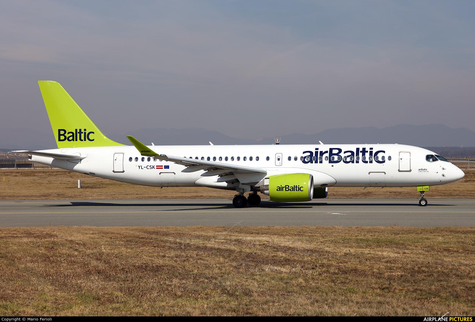 Air Baltic YL-CSK aircraft at Milan - Malpensa