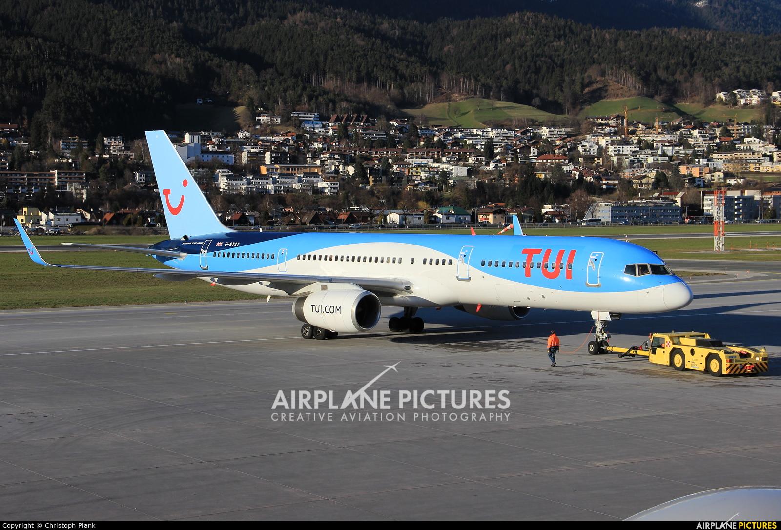 TUI Airways G-BYAY aircraft at Innsbruck