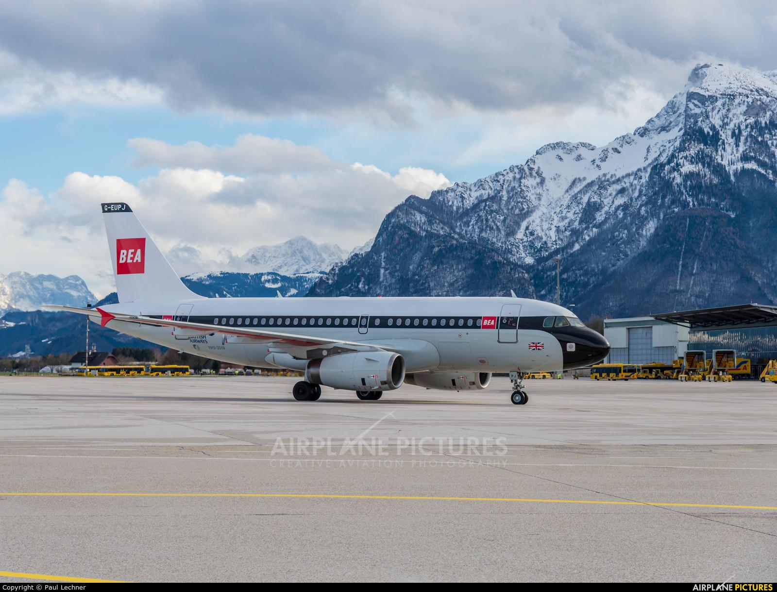 British Airways G-EUPJ aircraft at Salzburg