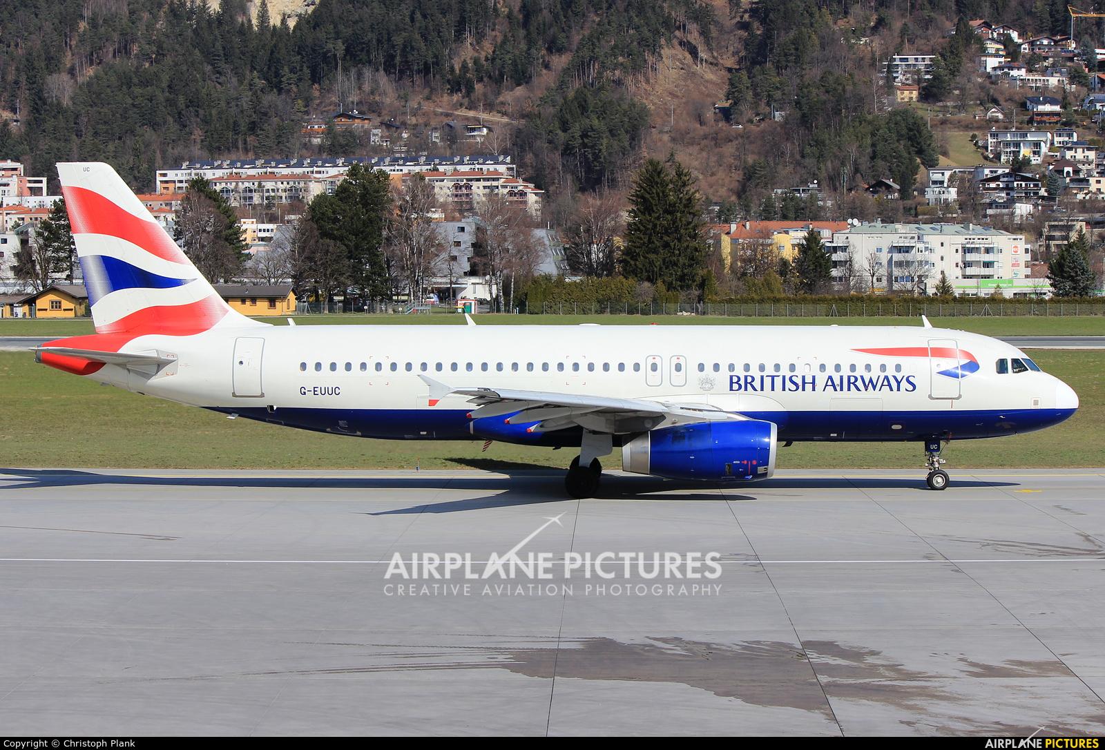 British Airways G-EUUC aircraft at Innsbruck