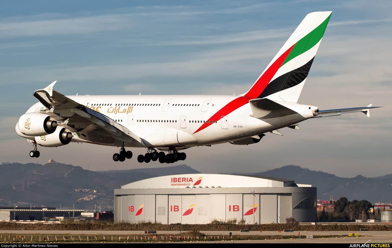 Emirates Airlines A6-EOX aircraft at Barcelona - El Prat
