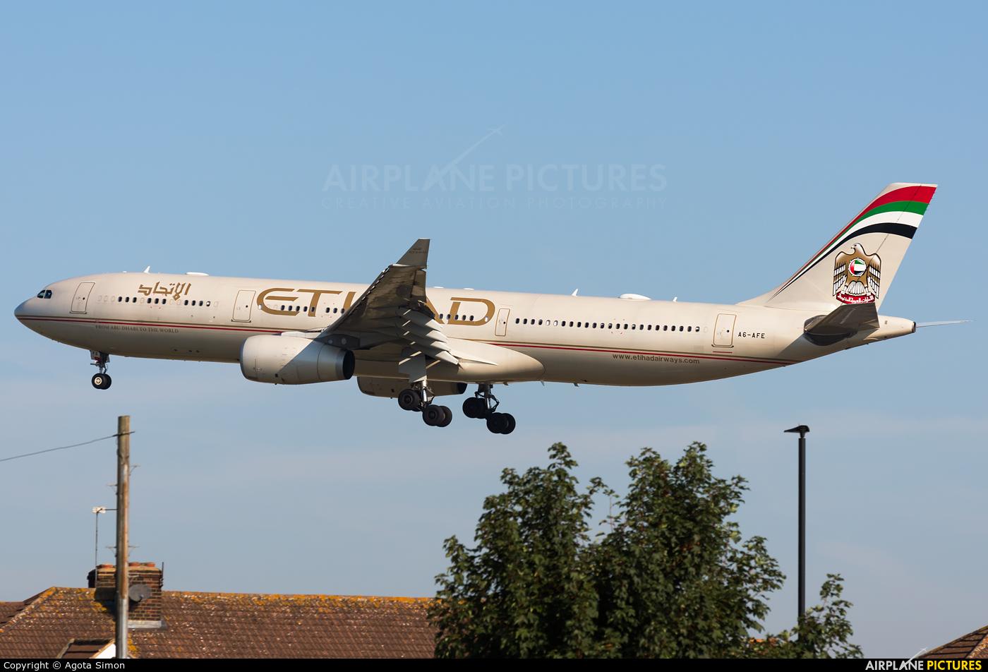 Etihad Airways A6-AFE aircraft at London - Heathrow