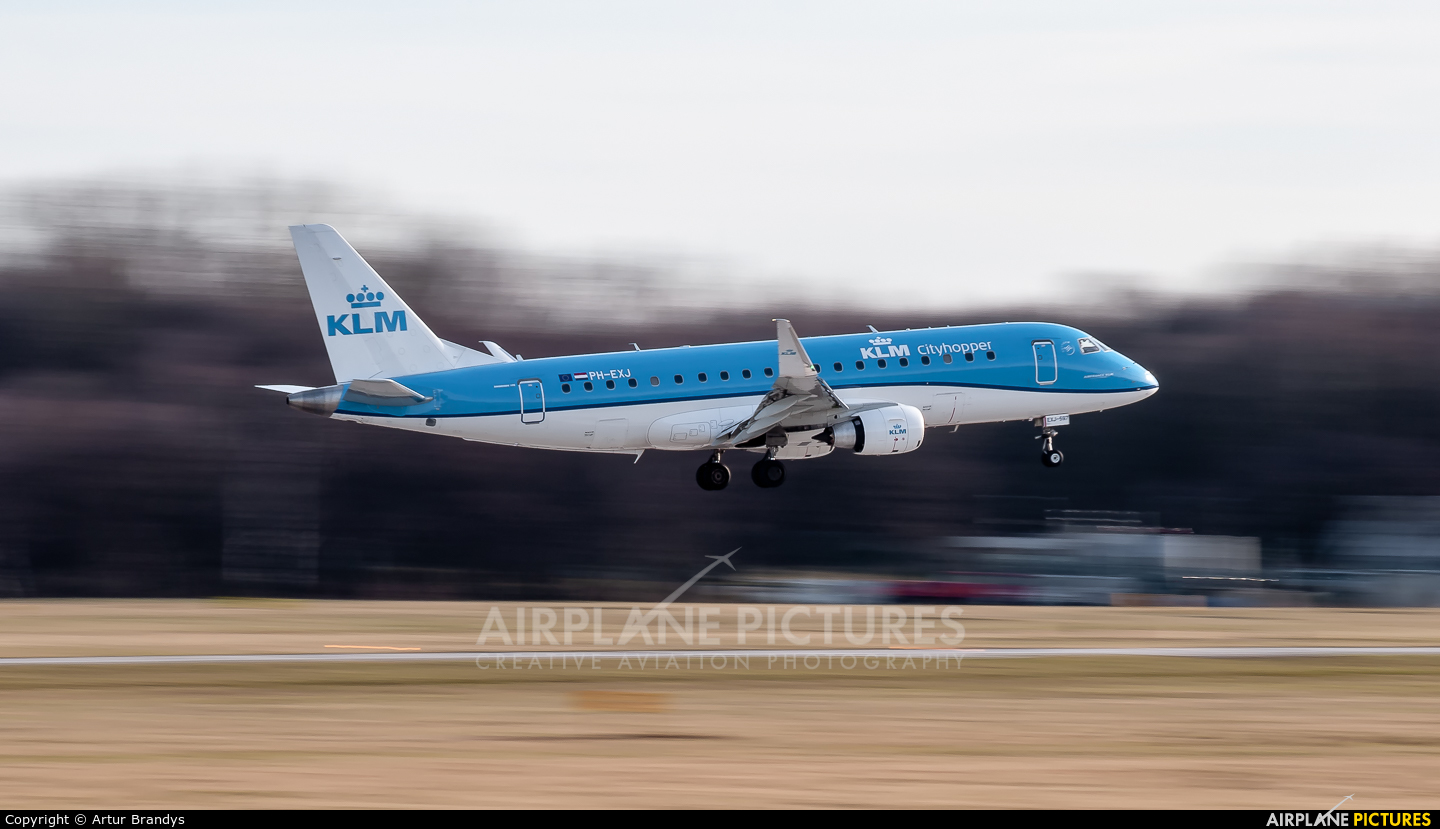 KLM Cityhopper PH-EXJ aircraft at Kraków - John Paul II Intl