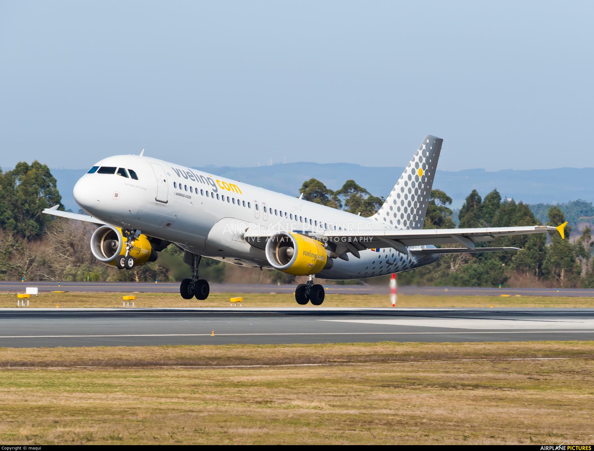 Vueling Airlines EC-LLM aircraft at Santiago de Compostela