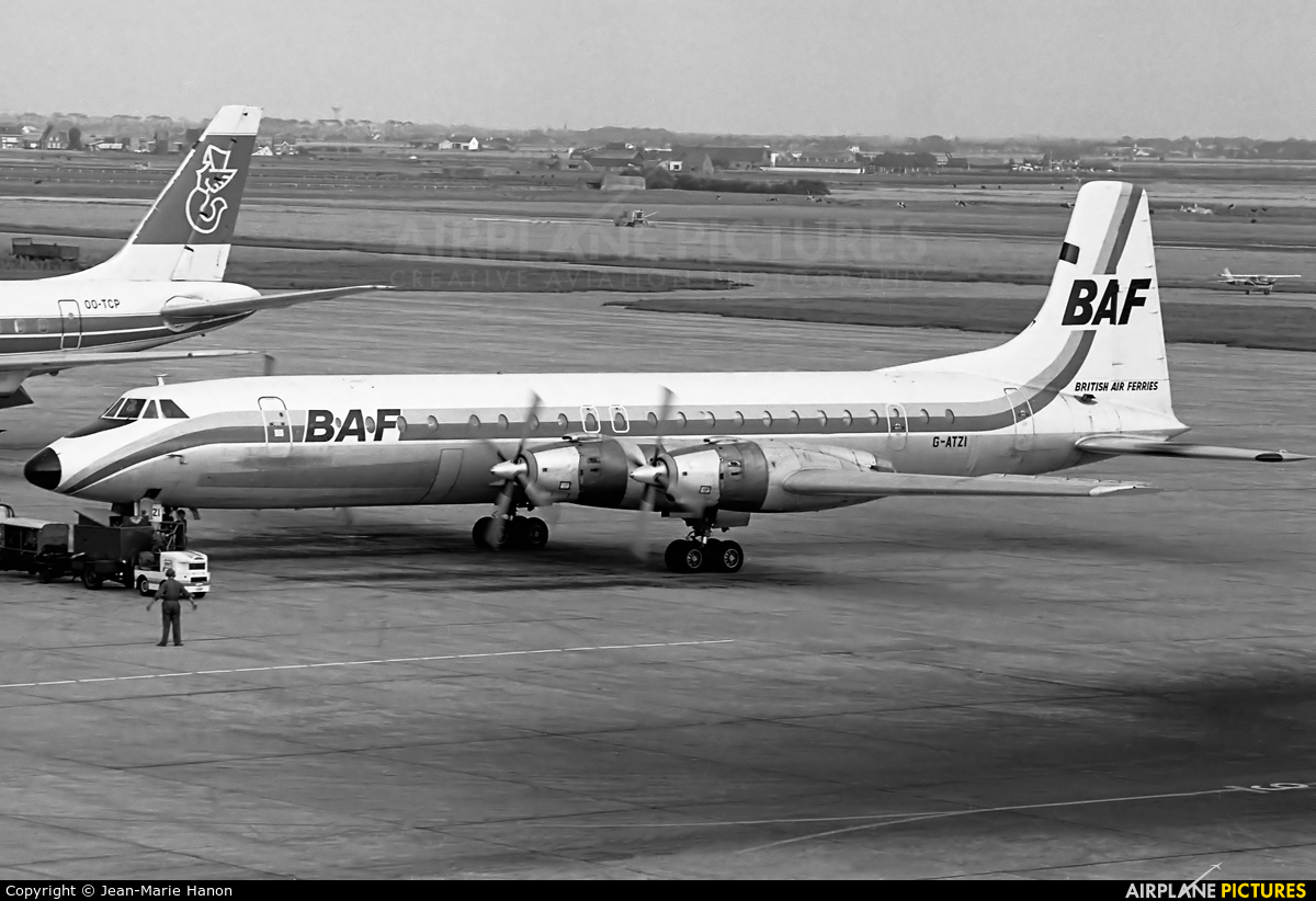 British Air Ferries  BAF G-ATZI aircraft at Ostend / Bruges
