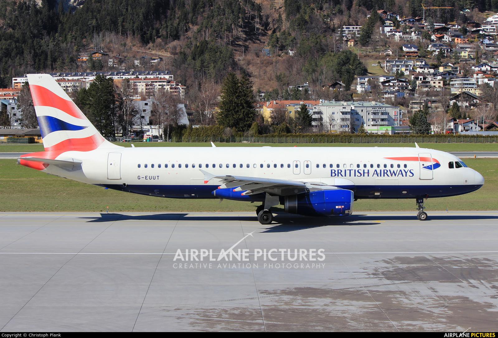 British Airways G-EUUT aircraft at Innsbruck