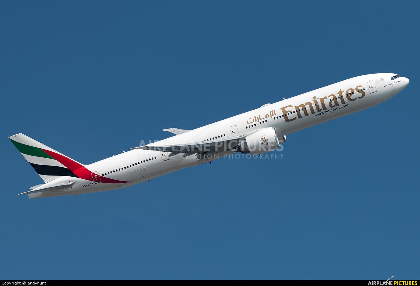 Emirates Airlines A6-EGA aircraft at Singapore - Changi