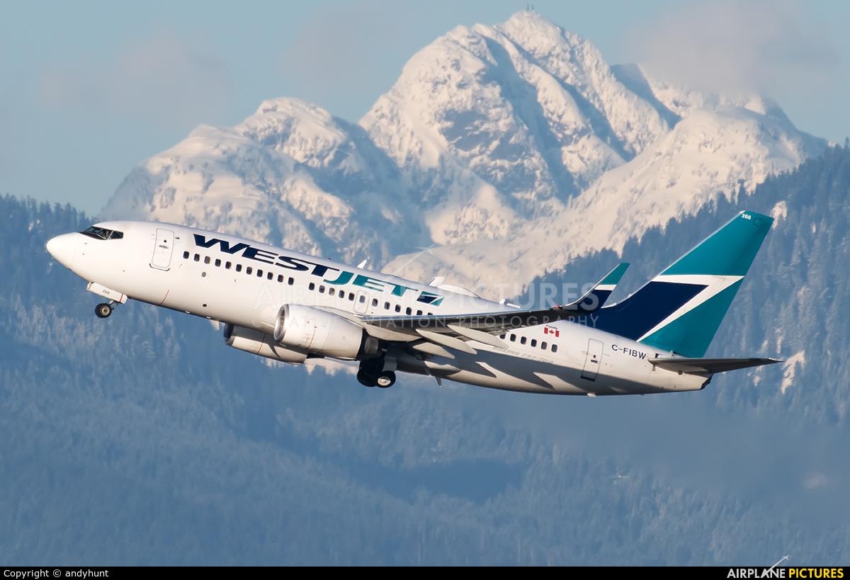 WestJet Airlines C-FIBW aircraft at Vancouver Intl, BC
