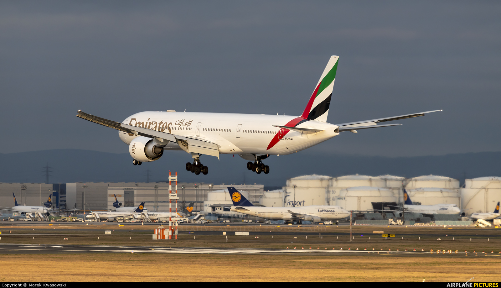 Emirates Airlines A6-EQI aircraft at Frankfurt