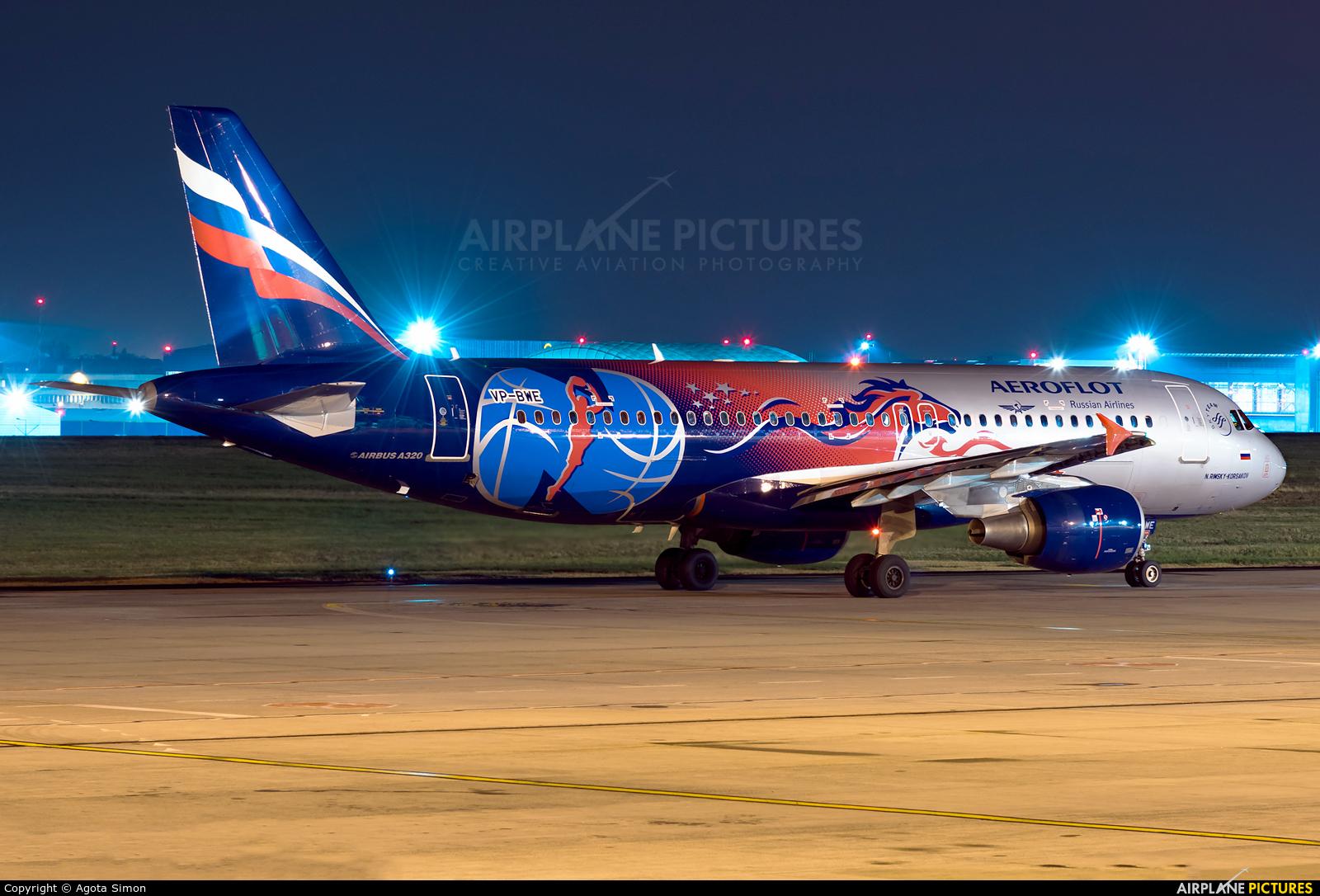 Aeroflot VP-BWE aircraft at Budapest Ferenc Liszt International Airport