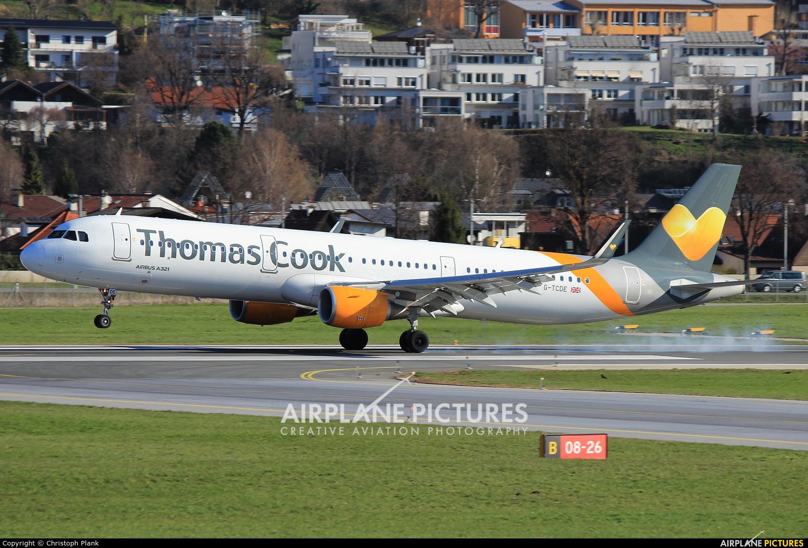 Thomas Cook G-TCDE aircraft at Innsbruck