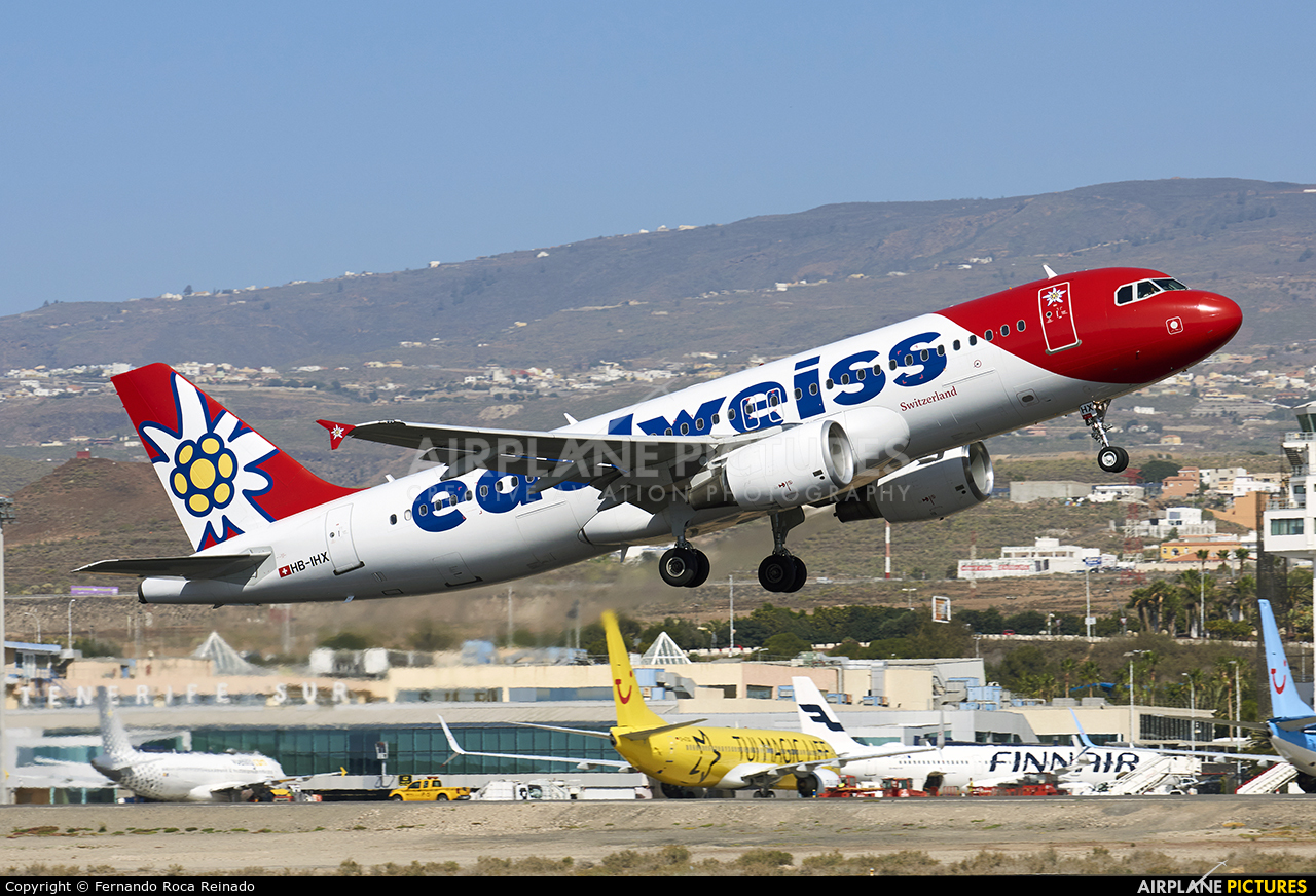 Edelweiss HB-IHX aircraft at Tenerife Sur - Reina Sofia