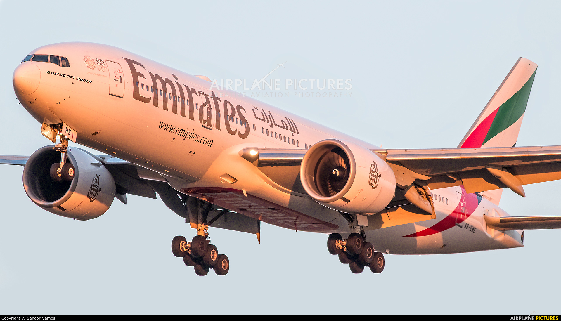 Emirates Airlines A6-EWE aircraft at Budapest Ferenc Liszt International Airport
