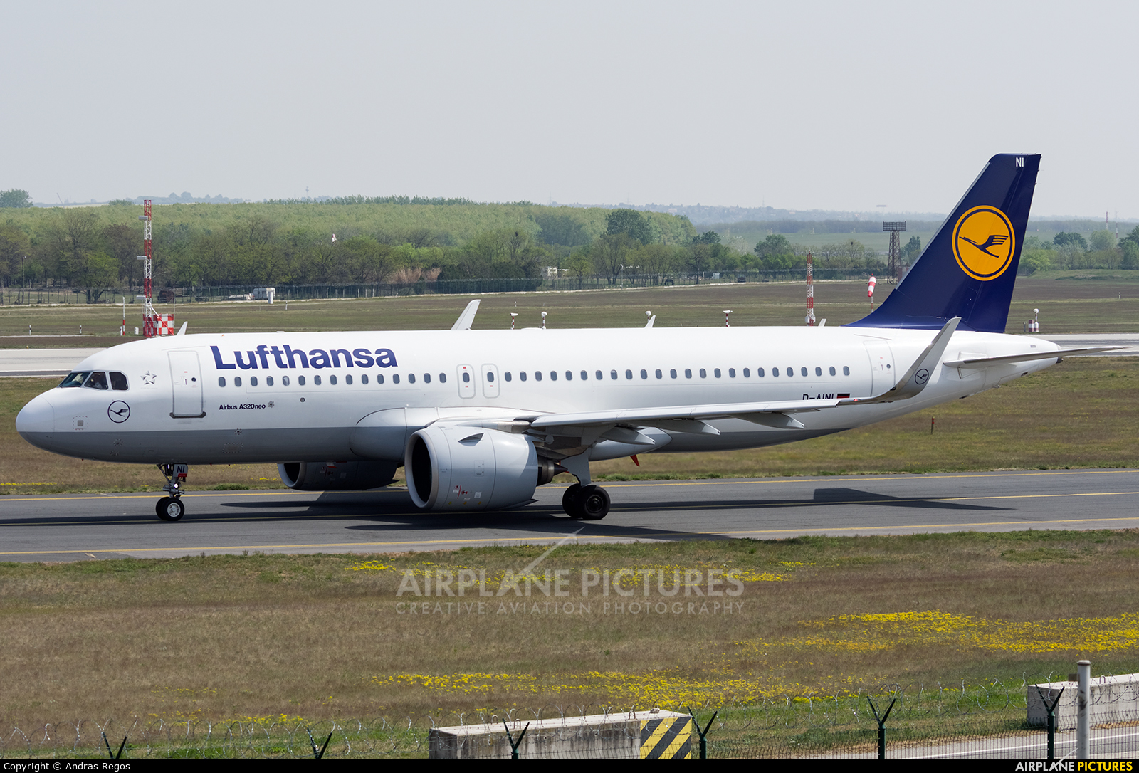 Lufthansa D-AINI aircraft at Budapest Ferenc Liszt International Airport