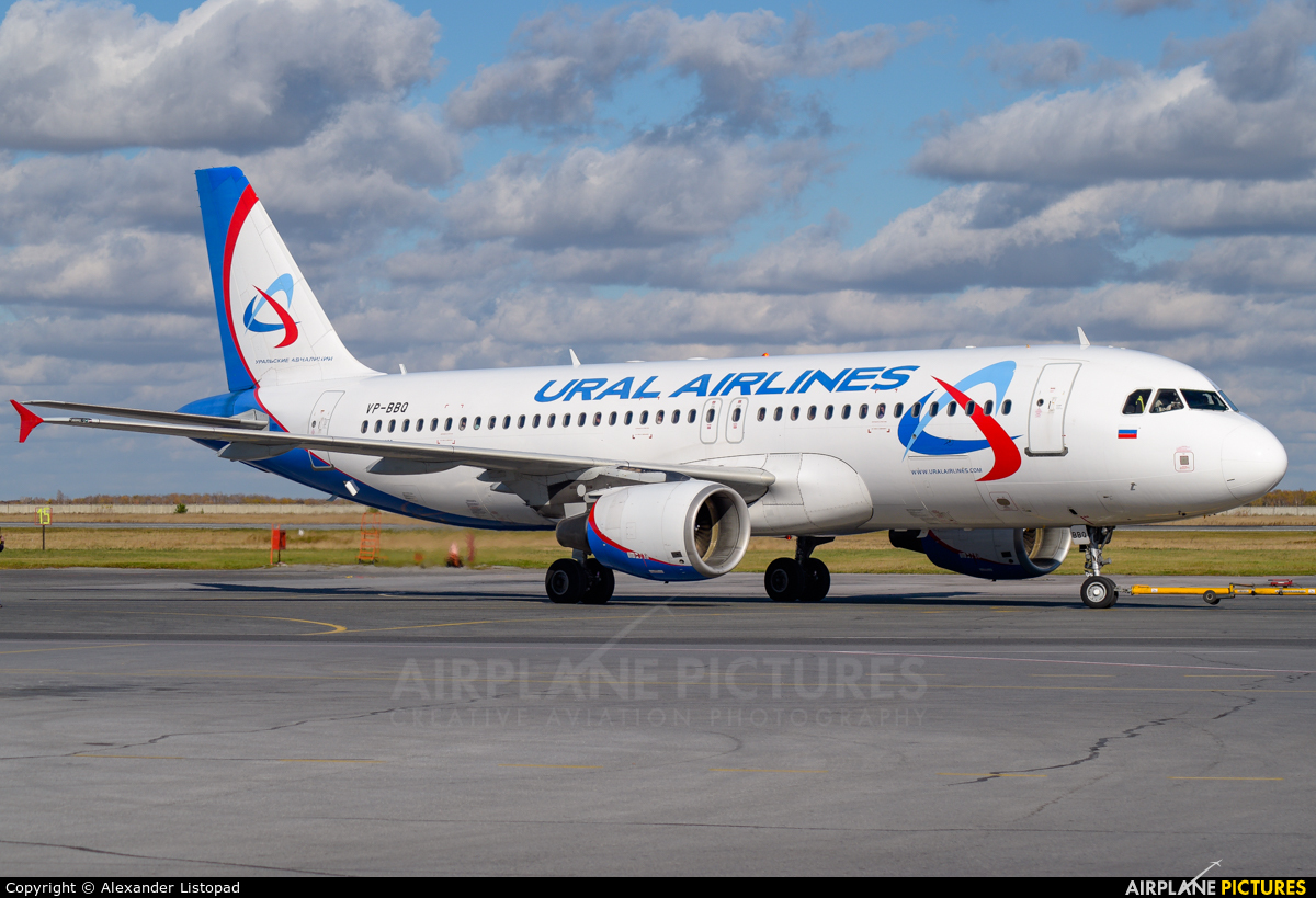 Ural Airlines VP-BBQ aircraft at Novosibirsk