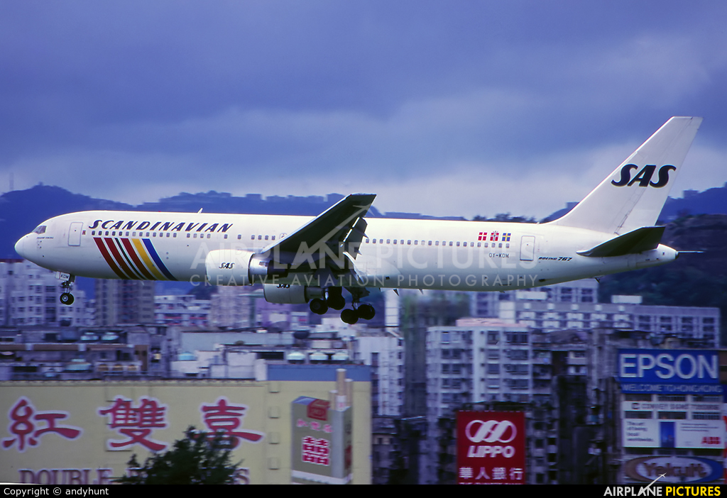 SAS - Scandinavian Airlines OY-KDM aircraft at HKG - Kai Tak Intl CLOSED