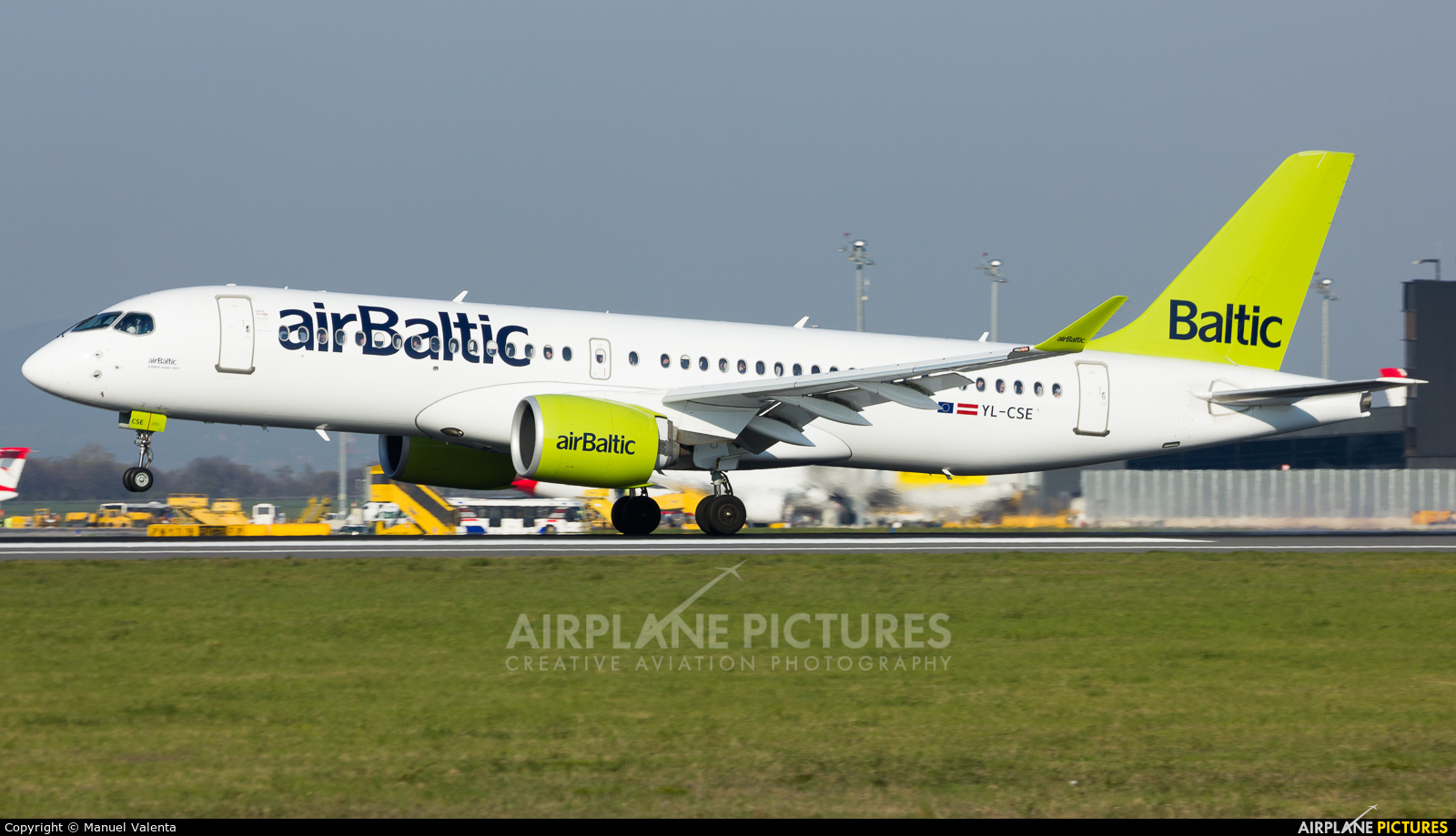 Air Baltic YL-CSE aircraft at Vienna - Schwechat