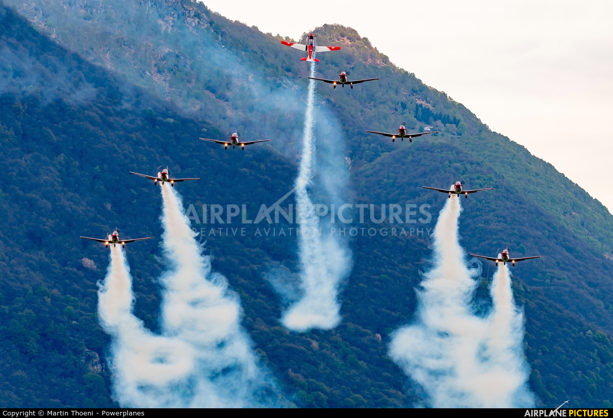 Switzerland - Air Force: PC-7 Team A-916 aircraft at Locarno