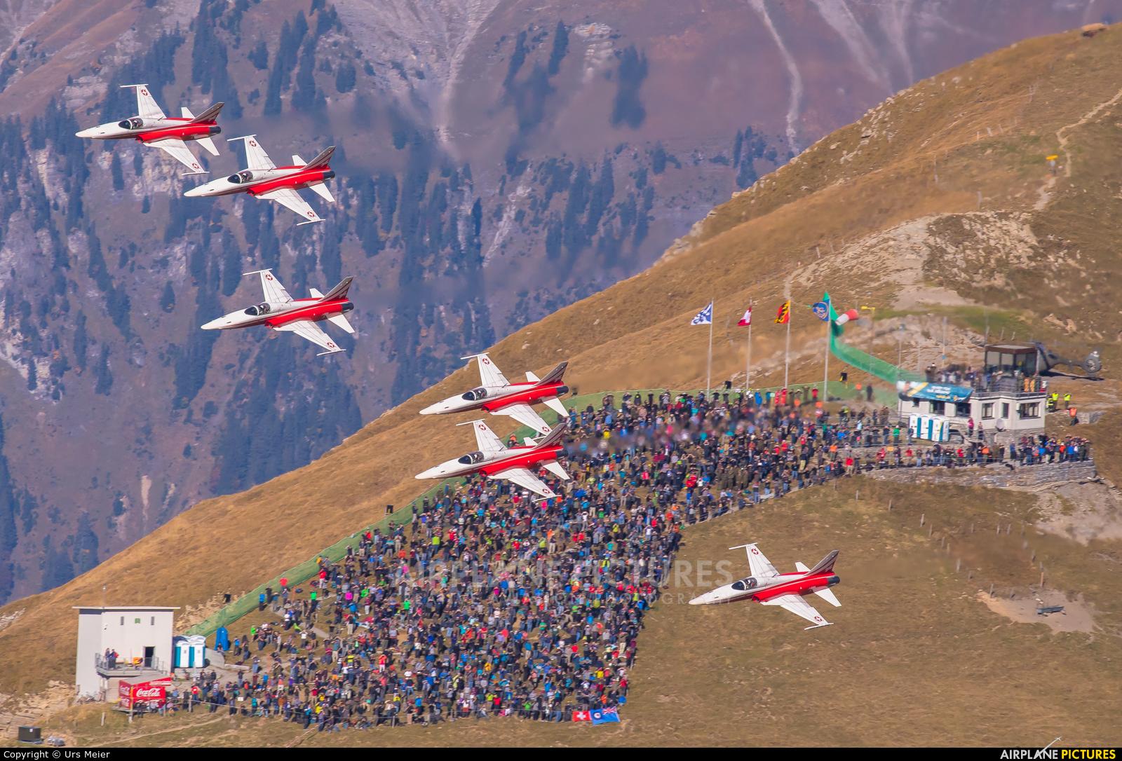 Switzerland - Air Force:  Patrouille de Suisse - aircraft at Meiringen