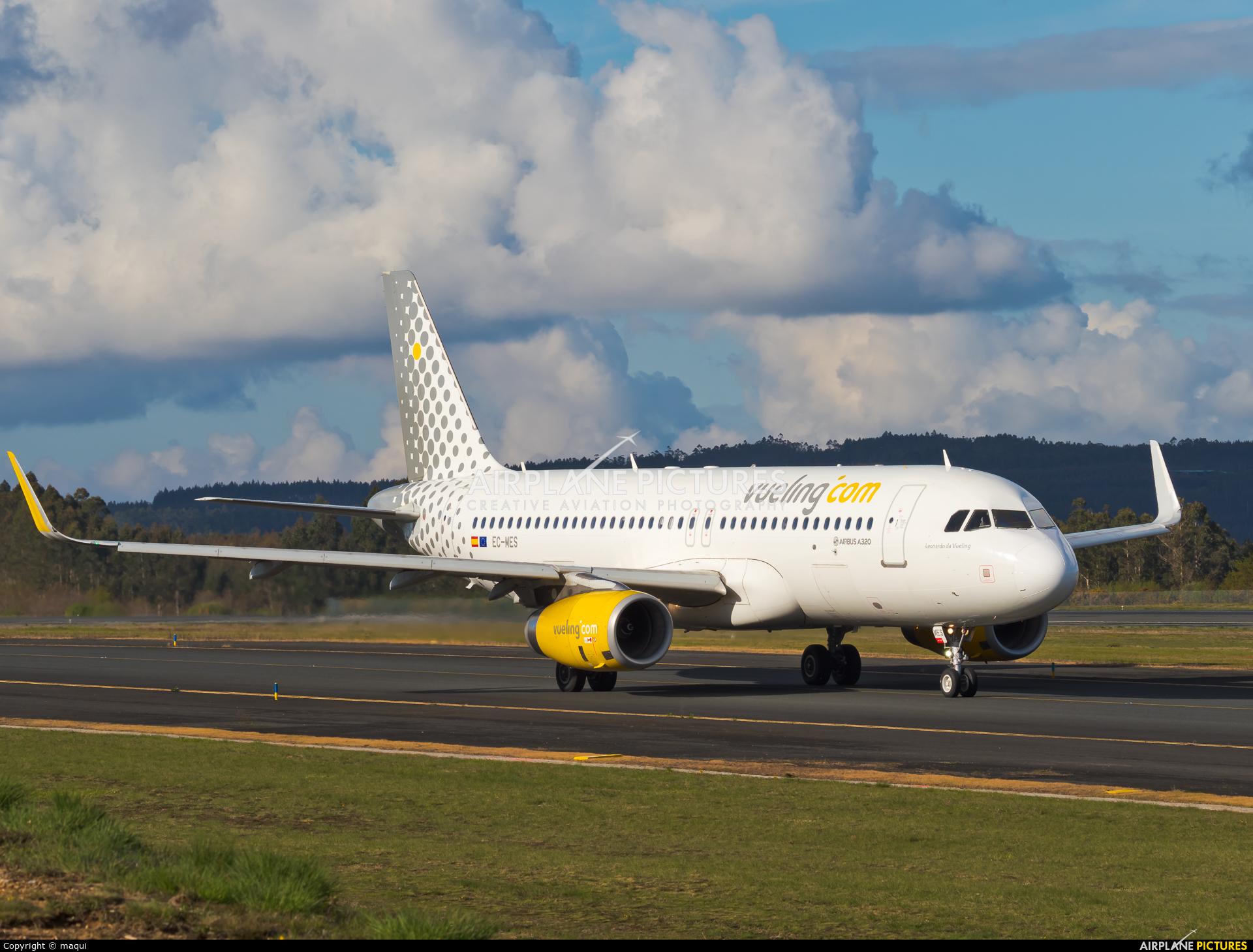Vueling Airlines EC-MES aircraft at Santiago de Compostela