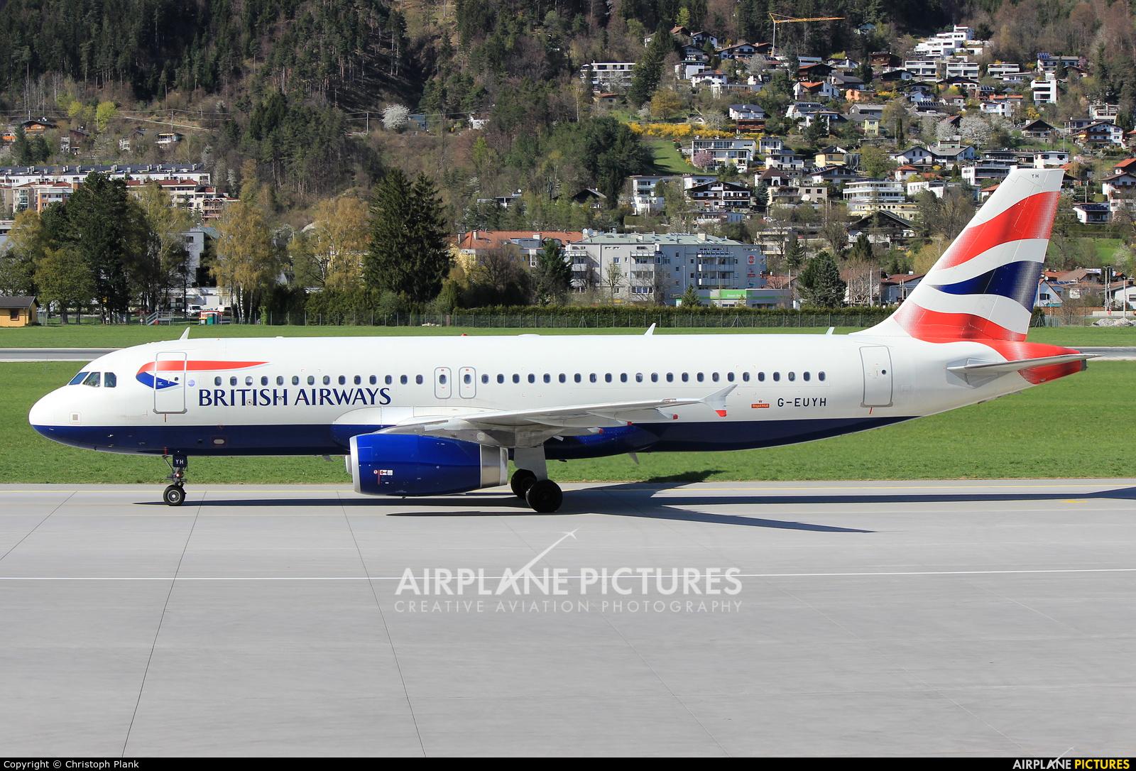 British Airways G-EUYH aircraft at Innsbruck