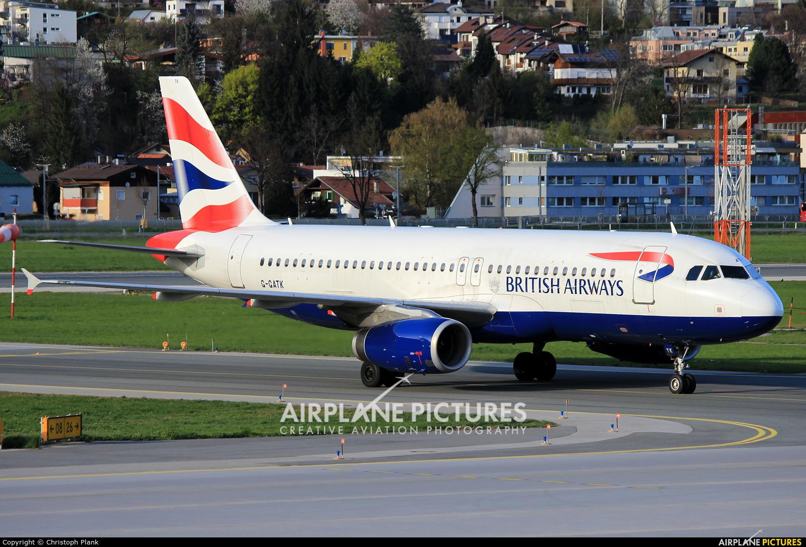 British Airways G-GATK aircraft at Innsbruck