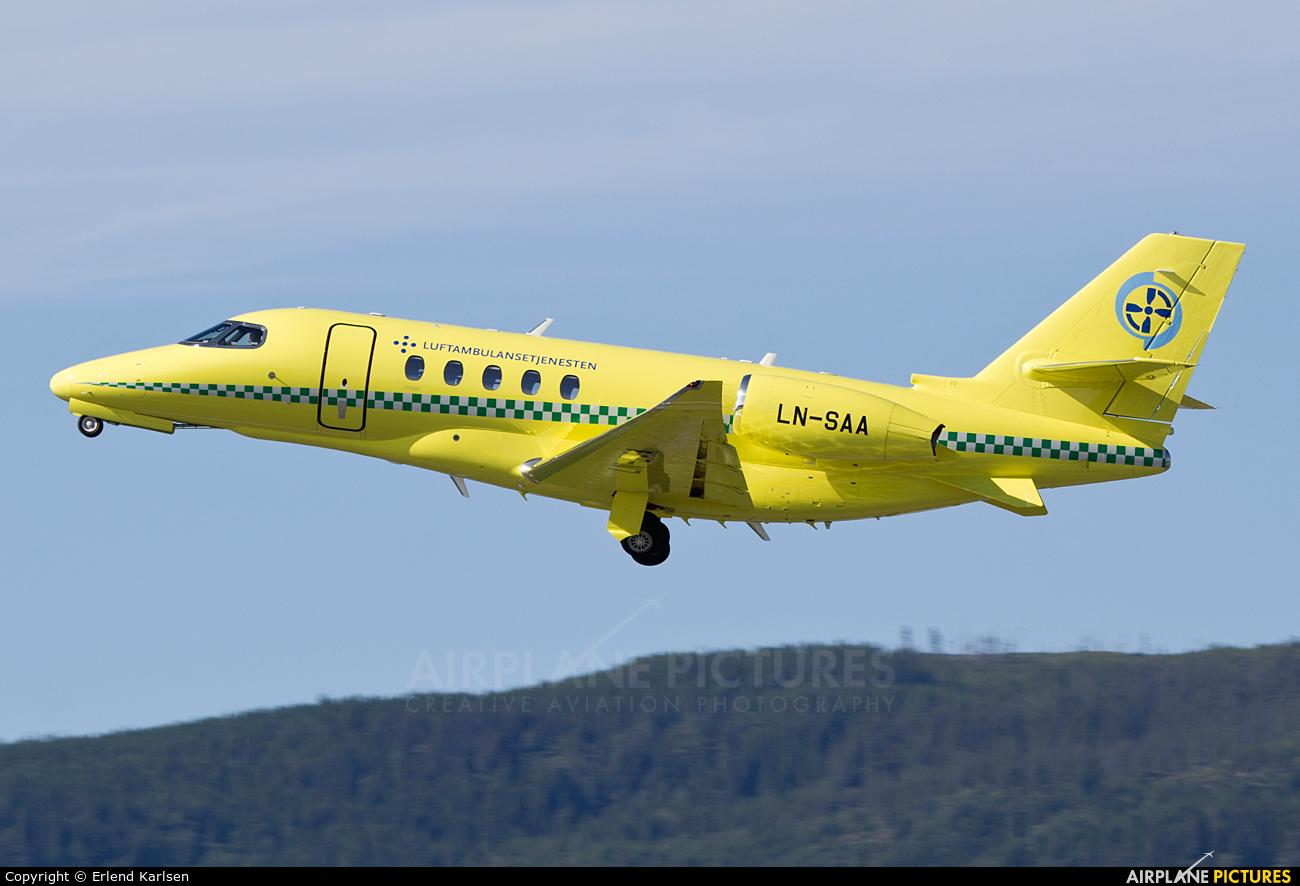 Babcock Scandinavian AirAmbulance LN-SAA aircraft at Trondheim - Vaernes