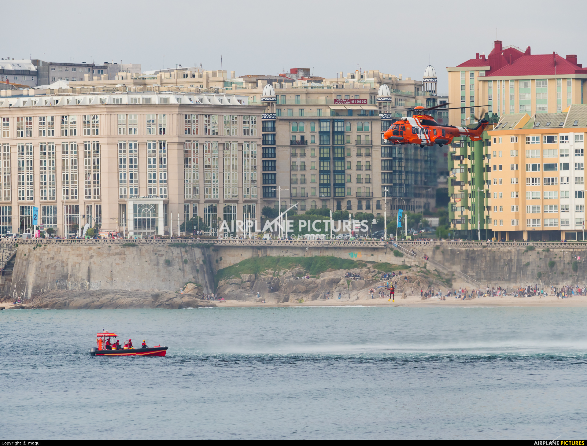 Spain - Coast Guard EC-NAA aircraft at La Coruña - Orzan Bay