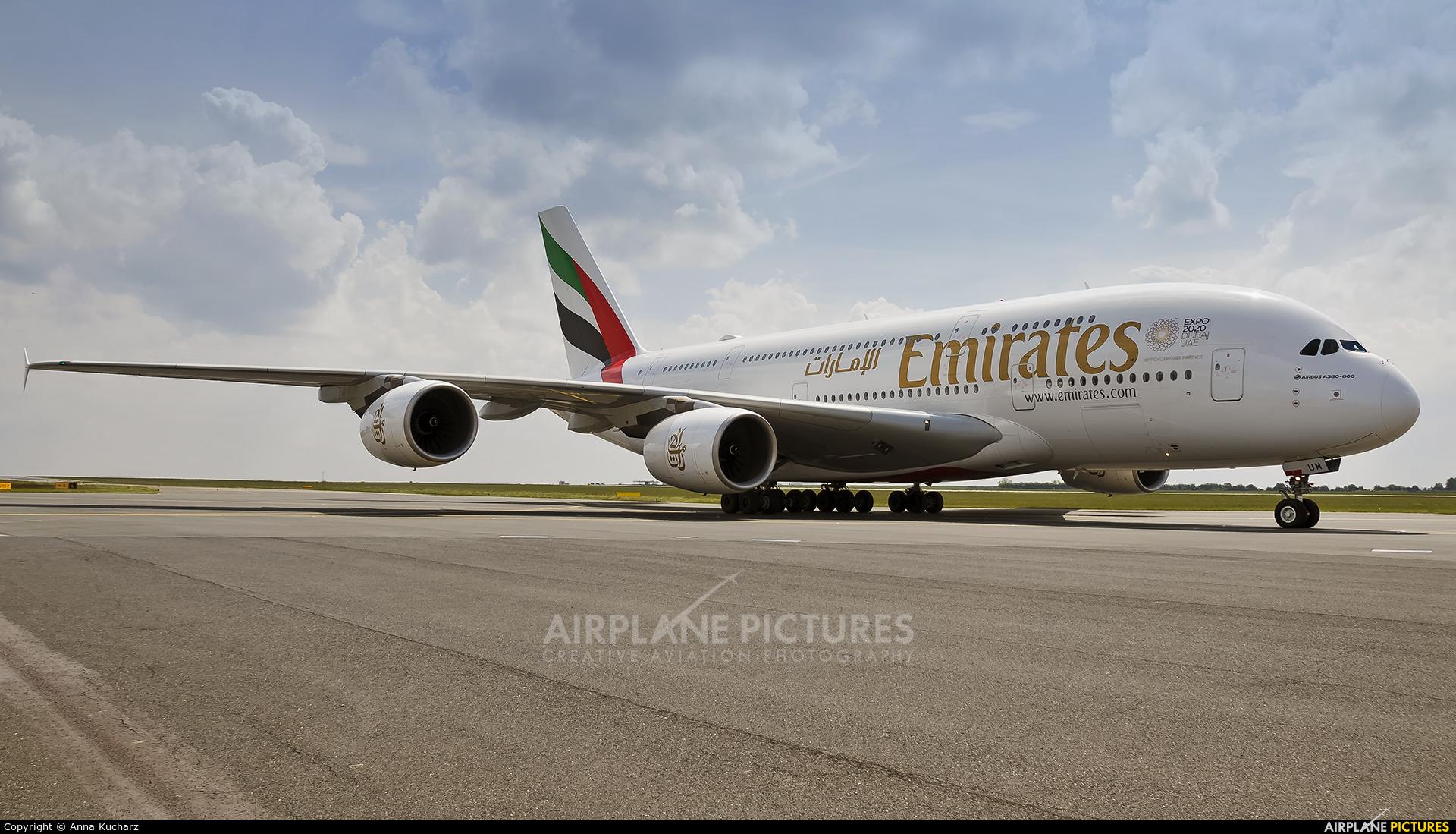Emirates Airlines A6-EUM aircraft at Prague - Václav Havel