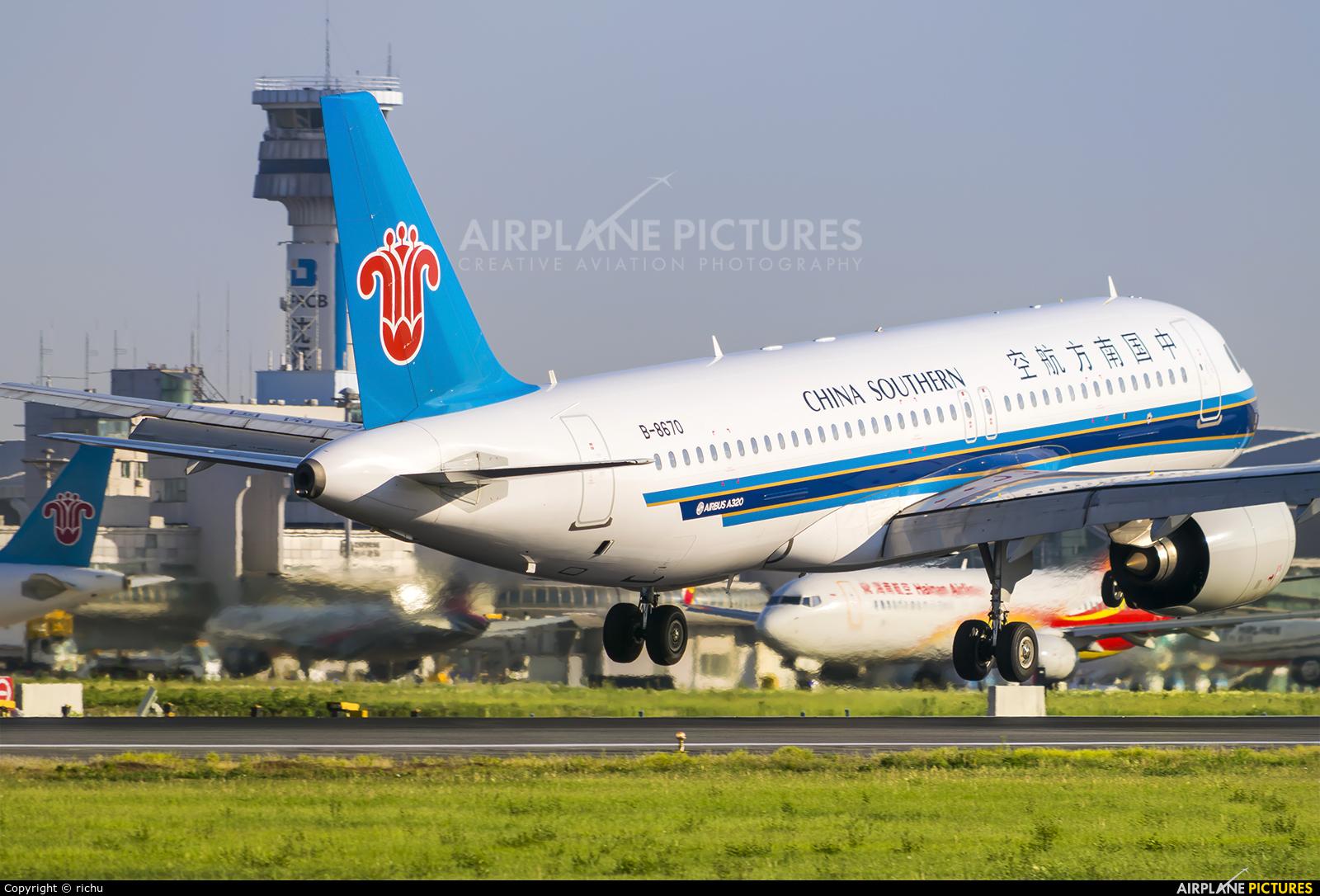 China Southern Airlines B-8670 aircraft at Shenyang-Taoxian