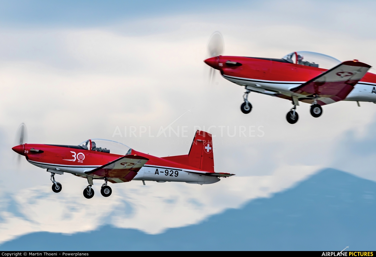 Switzerland - Air Force: PC-7 Team A-929 aircraft at Emmen