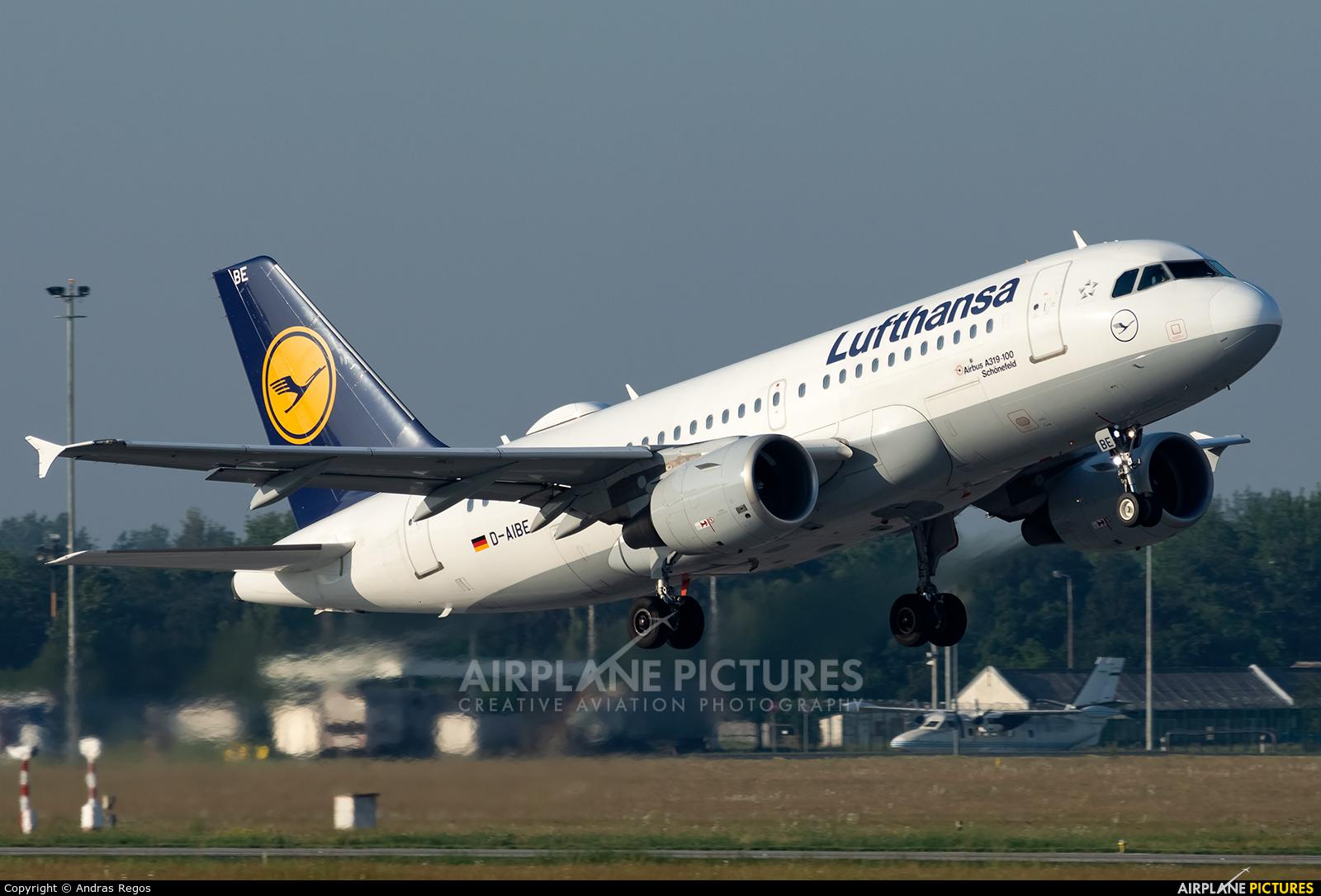 Lufthansa D-AIBE aircraft at Budapest Ferenc Liszt International Airport