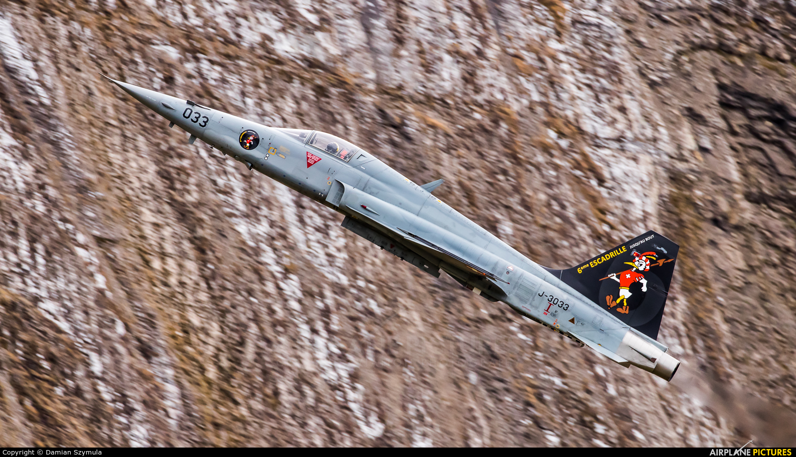 Switzerland - Air Force J-3033 aircraft at Ebenfluhe Range, Axalp