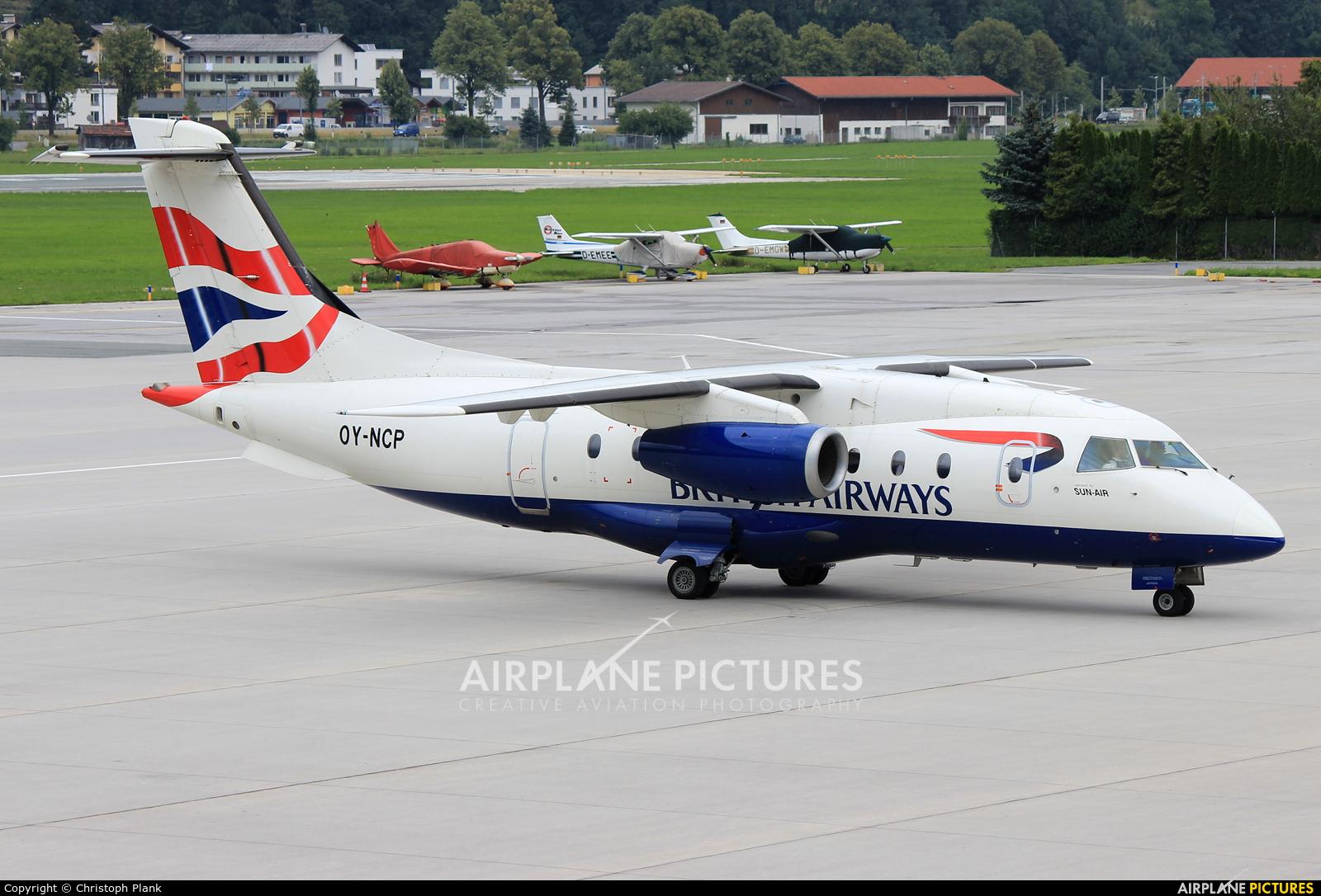 British Airways - Sun Air OY-NCP aircraft at Innsbruck