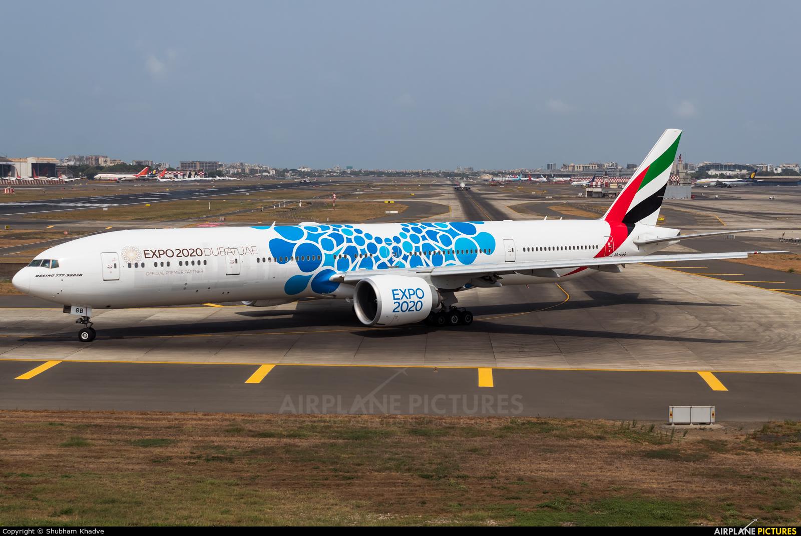 Emirates Airlines A6-EGB aircraft at Mumbai - Chhatrapati Shivaji Intl