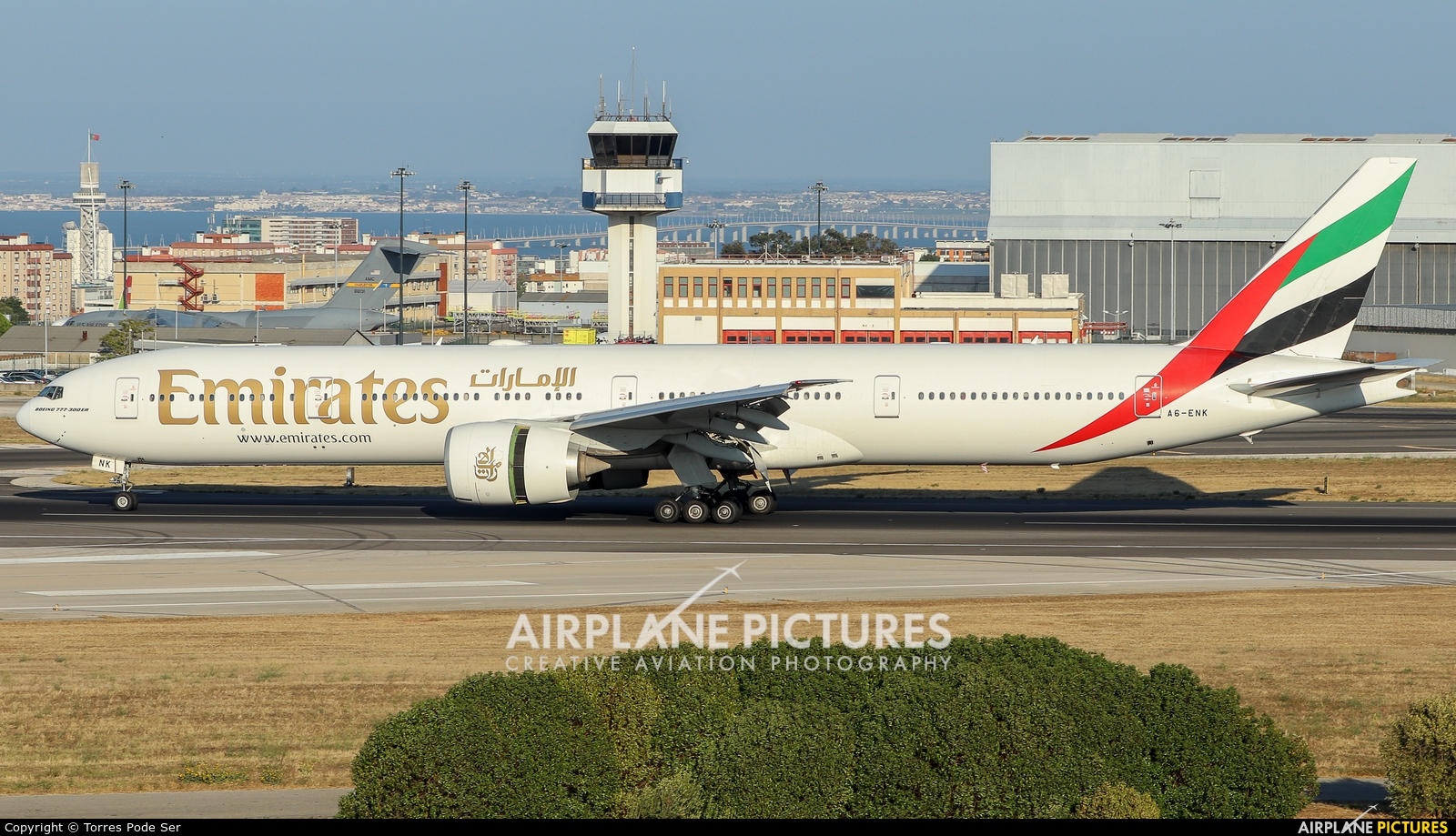 Emirates Airlines A6-ENK aircraft at Lisbon