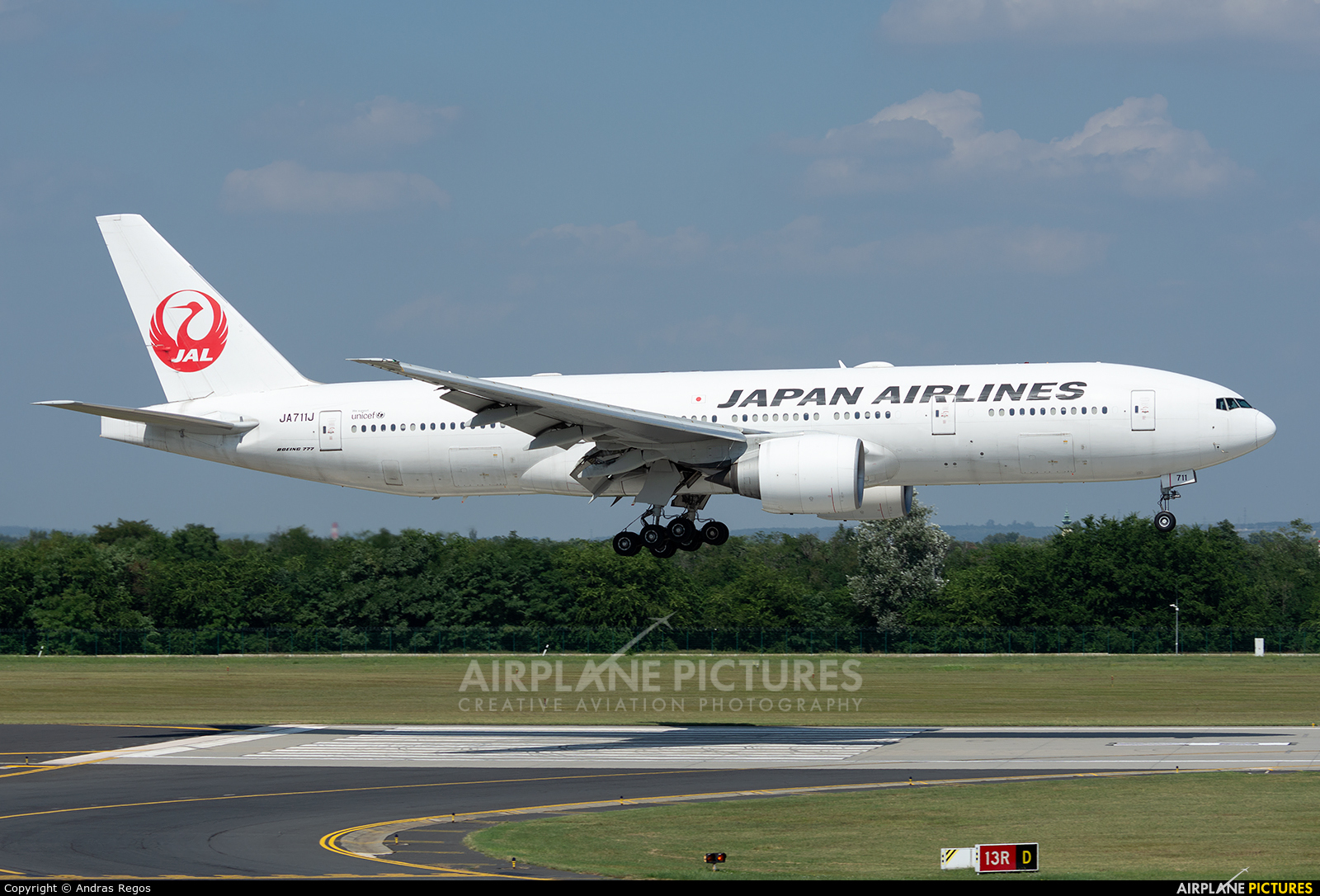 JAL - Japan Airlines JA711J aircraft at Budapest Ferenc Liszt International Airport