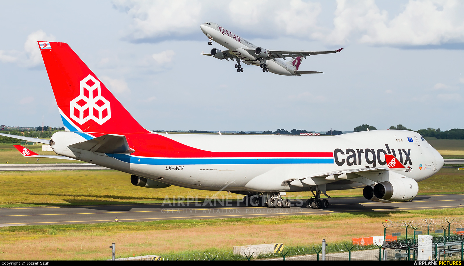 Cargolux LX-WCV aircraft at Budapest Ferenc Liszt International Airport