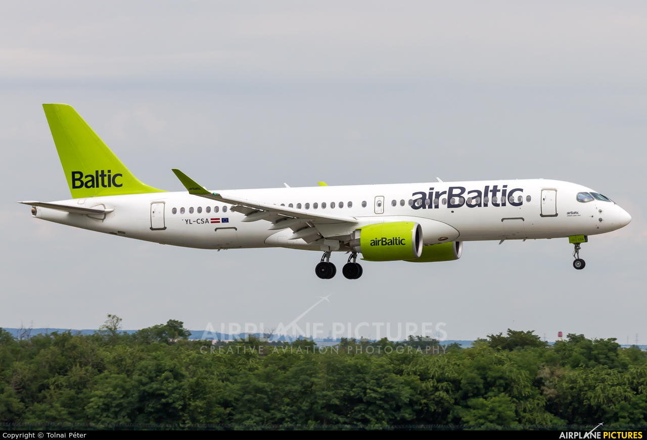 Air Baltic YL-CSA aircraft at Budapest Ferenc Liszt International Airport