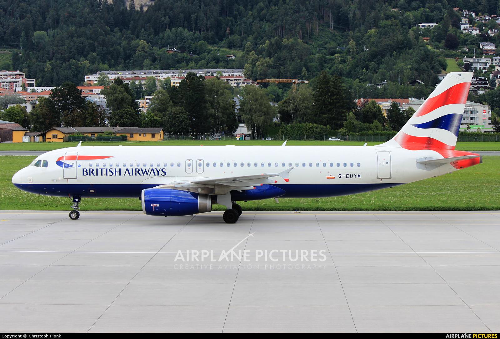 British Airways G-EUYM aircraft at Innsbruck