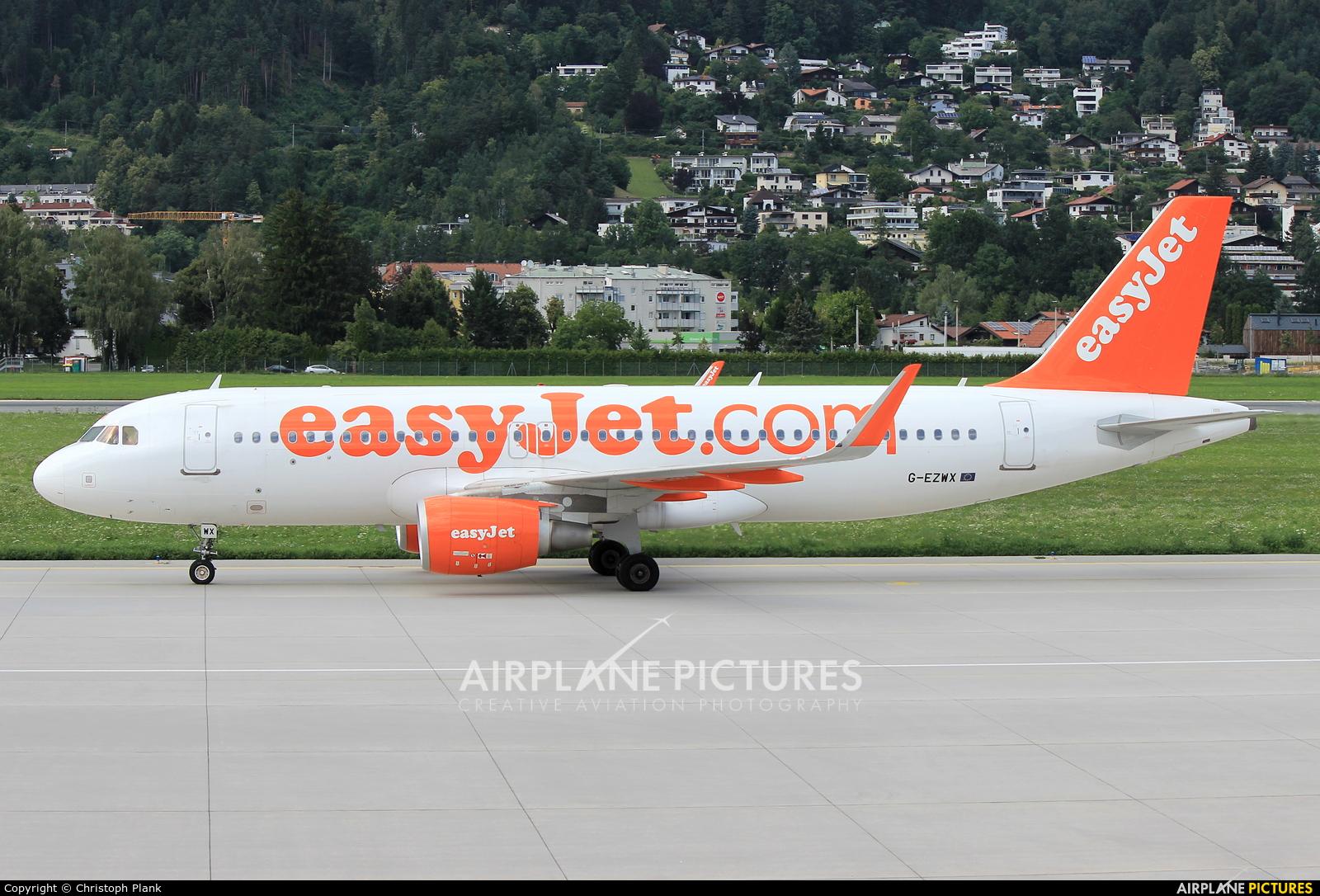 easyJet G-EZWX aircraft at Innsbruck