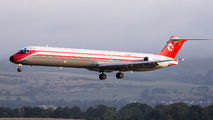 Rare visit of Danish Air Transport MD82 to Glasgow title=