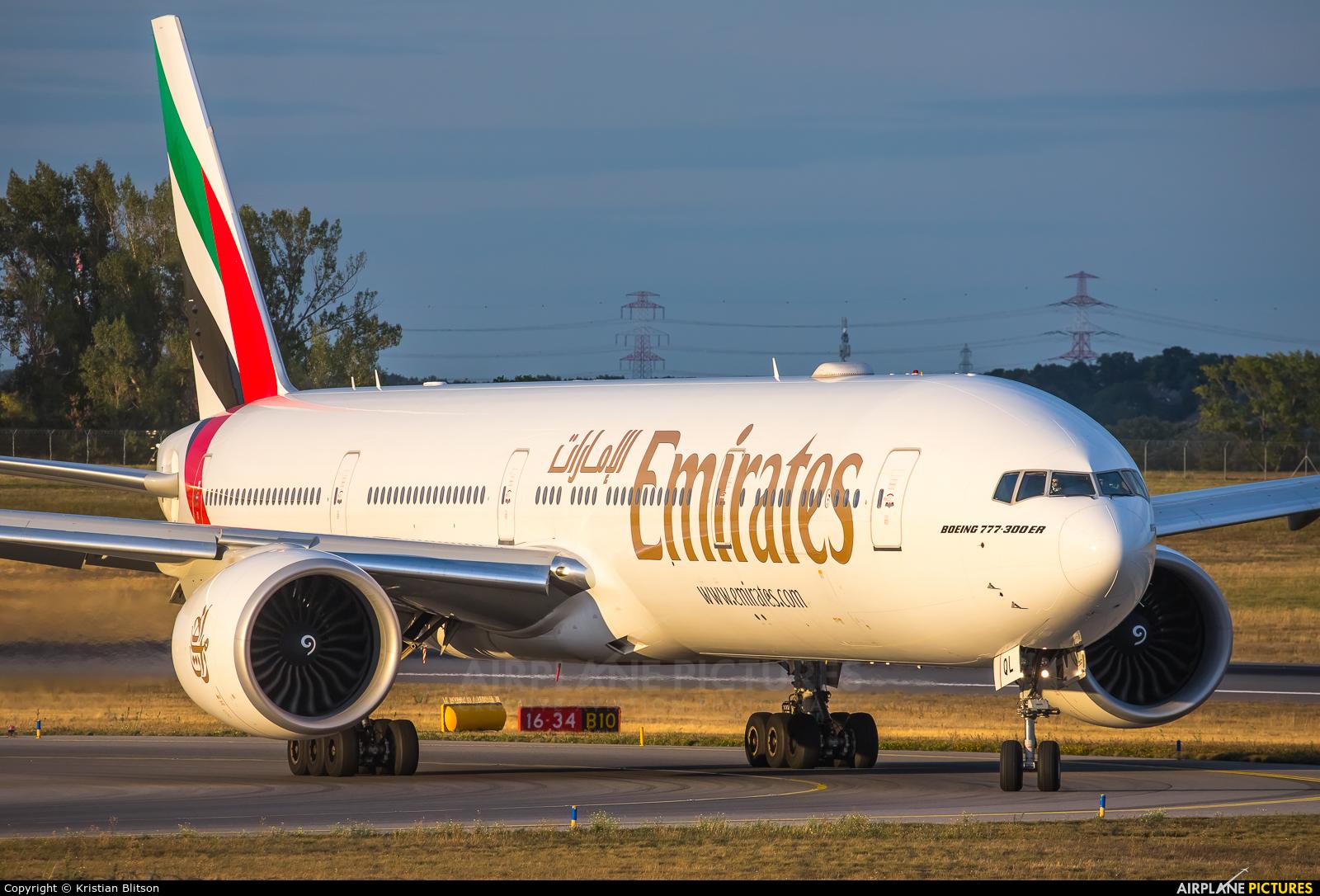Emirates Airlines A6-EQL aircraft at Vienna - Schwechat