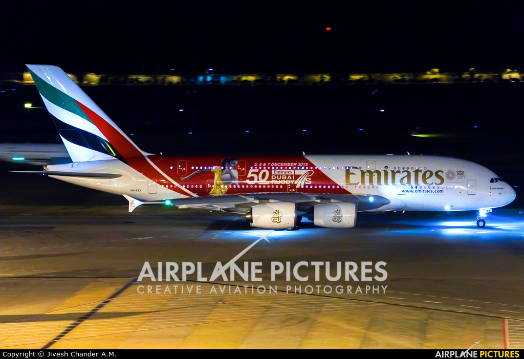 Emirates Airlines A6-EEV aircraft at Singapore - Changi
