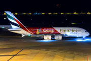 "Emirates A380 wears ""50 Years Dubai Rugby Games"" special livery title="