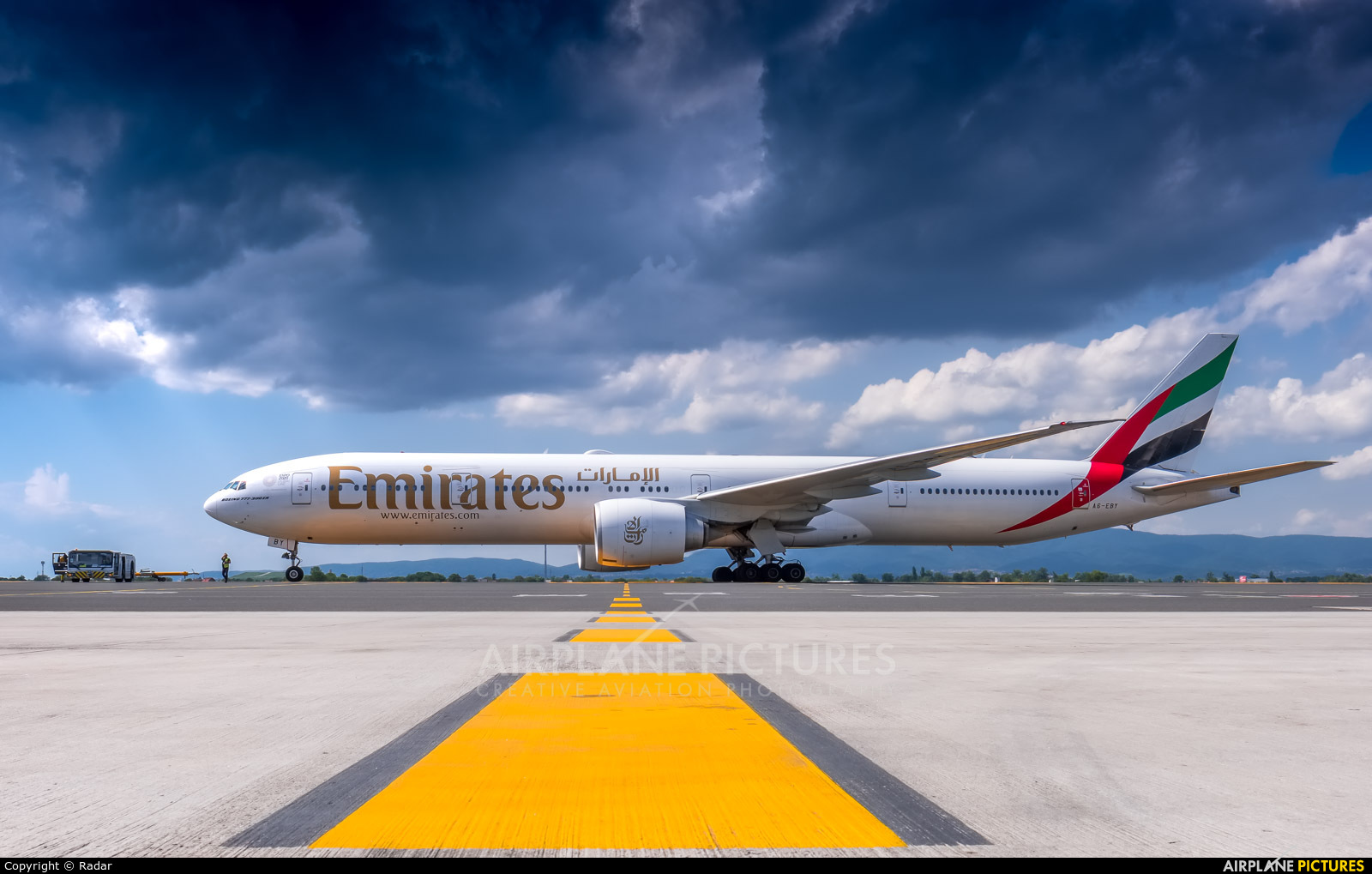 Emirates Airlines A6-EBY aircraft at Zagreb