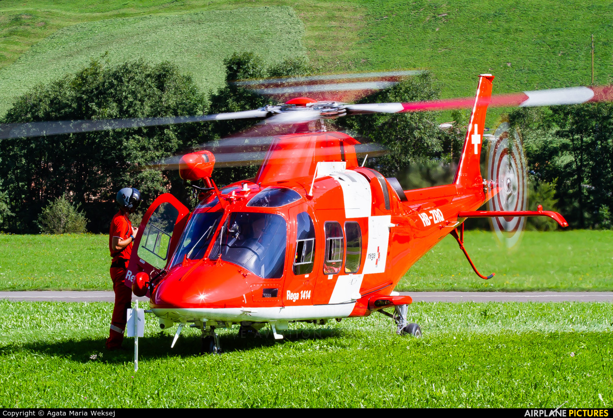 REGA Swiss Air Ambulance  HB-ZRQ aircraft at St. Stephan
