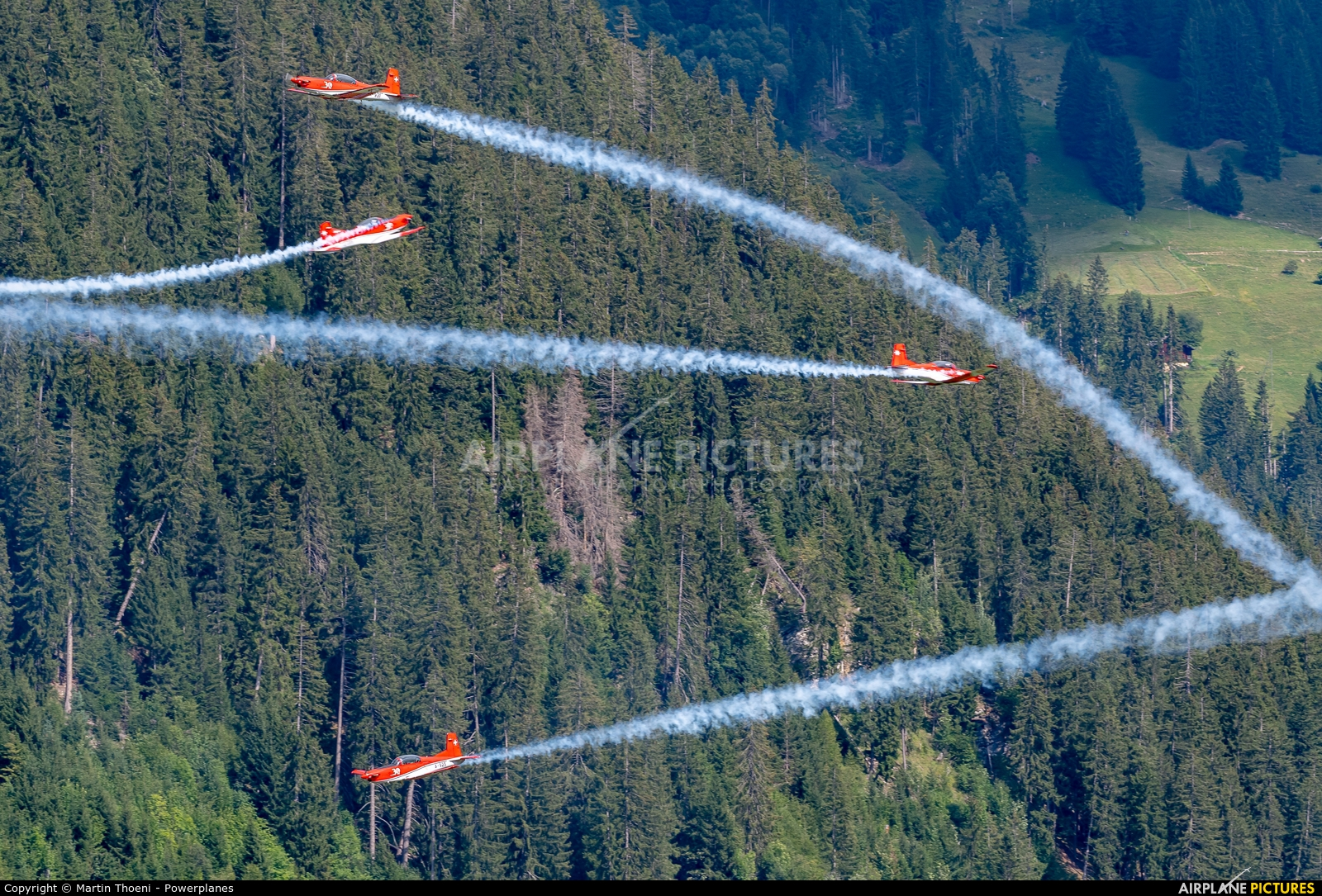 Switzerland - Air Force: PC-7 Team A-925 aircraft at St. Stephan